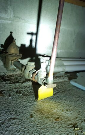 water shutoff valve installed in a difficult to access location